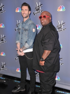 "Adam Levine and Cee Lo Green arrive at NBC's press conference ""The Voice"" in Los Angeles on March 15, 2011"