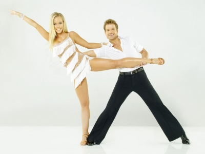 "Reality star and former ""Girl Next Door"" Kendra Wilkinson strikes a pose with partner Louis van Amstel for Season 12 of ""Dancing with the Stars"""