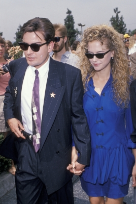 Charlie Sheen and Kelly Preston during Martin Sheen Honored with a Star on the Hollywood Walk of Fame for His Achievements in Film at Hollywood Boulevard in Los Angeles, California