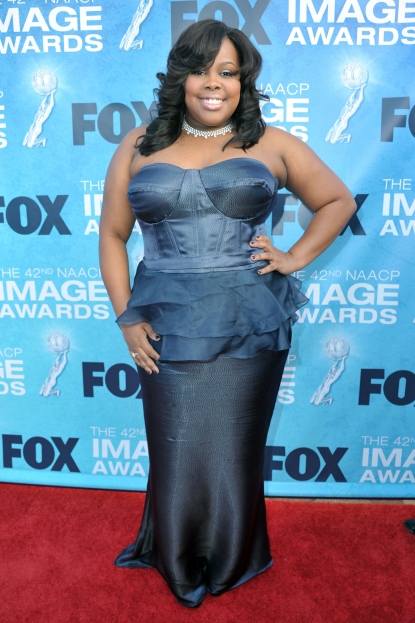 """Glee's"" Amber Riley arrives at the 42nd NAACP Image Awards held at The Shrine Auditorium in LA on March 4, 2011"
