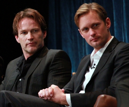 "Stephen Moyer and Alexander Skarsgard appear on stage at PaleyFest 2011 presents ""True Blood"" at the Saban Theatre, Beverly Hills, on March 5, 2011"