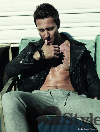 Alex O'Loughlin poses in some fleece pants for Australian GQ, March 2011