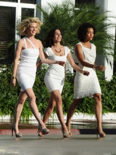 "Meet your new Angels? Rachael Taylor, Jessica Gaudix and Annie Ilonzeh on the set of the ABC's ""Charlie's Angels"" franchise reboot on March 16, 2011 in Miami Beach, Florida"