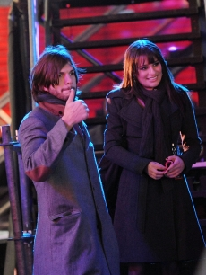 "Ashton Kutcher and Lea Michele filming on location for ""New Years Eve"" on the streets of Manhattan in New York City on March 15, 2011"
