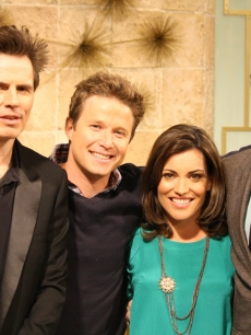 John Taylor and Simon Le Bon of Duran Duran pose with Billy Bush and Kit Hoover on the set of Access Hollywood Live on March 22, 2011