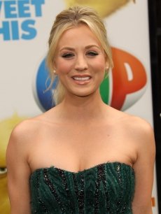 "Kaley Cuoco is all smiles at the ""Hop"" premiere in Universal City, Calif., on March 27, 2011"