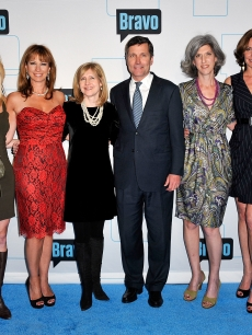 Kelly Bensimon, Alex McCord, Jill Zarin, Bravo Media President Frances Berwick, NBCUniversal CEO Steve Burke, NBCUniversal Entertainment & Digital Networks and Integrated Media Chairman Lauren Zalaznick, Countess LuAnn de Lesseps, and Cindy Barshop attend the 2011 Bravo Upfront at 82 Mercer, NYC, March 30, 2011
