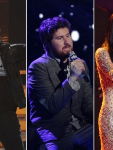 "James Durbin, Casey Abrams and Pia Toscano perform on ""American Idol"" on March 30, 2011"