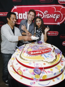 Selena Gomez celebrates Radio Disney's 15th birthday with Ernie D and Jake Whetter