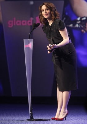 """30 Rock's"" Tina Fey accepts an award at the GLAAD Media Awards at the Marriott in Times Square in NYC on March 19, 2011"
