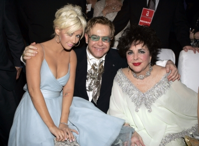 Christina Aguilera, Sir Elton John and Elizabeth Taylor in 2005