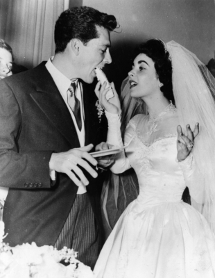 Dame Elizabeth Taylor and her first husband, Nick Hilton, on their wedding day on May 6, 1950
