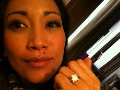 Carrie Ann Inaba flashes her dazzling engagement ring on March 31, 2011