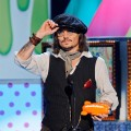 Johnny Depp accepts an award during Nickelodeon&#8217;s 24th Annual Kids&#8217; Choice Awards at Galen Center in Los Angeles on April 2, 2011