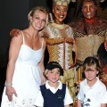 Britney Spears and her sons Jayden James and Sean Preston pose with Kissy Simmons, Derrick Willimas, Ntsepa Pitjeng and Niles Rivers of The Lion King at Mandalay Bay in Las Vegas on April 3, 2011 