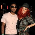 Usher and Rihanna pose for a picture at the Armani Exchange & 944 Magazine Neon Carnival party at Coachella in Indio, Calif., on April 16, 2011