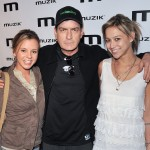 "Bree Olson, Charlie Sheen and Natalie Kenly attend the official after-party for his ""Torpedo of Truth"" tour at Muzik on April 14, 2011 in Toronto, Canada"