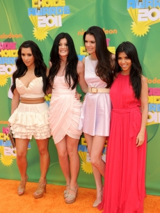 Kim Kardashian, Kendall Jenner, Kylie Jenner and Kourtney Kardashian arrive at Nickelodeon's 24th Annual Kids' Choice Awards at Galen Center in Los Angeles on April 2, 2011