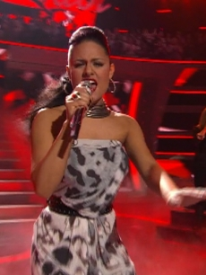 "Pia Toscano performs on ""American Idol,"" April 6, 2011"