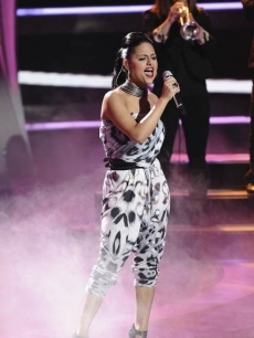 "Pia Toscano performs on ""American Idol"" on April 6, 2011"