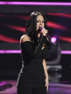 "Pia Toscano performs on ""American Idol"" on April 8, 2011"