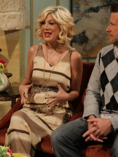 Tori Spelling and Dean McDermott talk about their pregnancy news on Access Hollywood Live on April 12, 2011