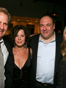 "Jeff Daniels, Marcia Gay Harden, James Gandolfini and Hope Davis pose at the party for the opening night performance of ""God of Carnage"" at Center Theatre Group's Ahmanson Theatre in Los Angeles on April 13, 2011"