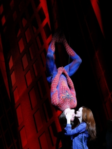 "Reeve Carney and Jennifer Damiano seen onstage during the ""Spider-Man: Turn Off The Dark"" original Broadway cast's final preview performance at Foxwoods Theatre in New York City on April 17, 2011"