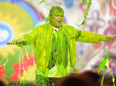 Jack Black speaks onstage during Nickelodeon's 24th Annual Kids' Choice Awards at Galen Center on April 2, 2011 in Los Angeles