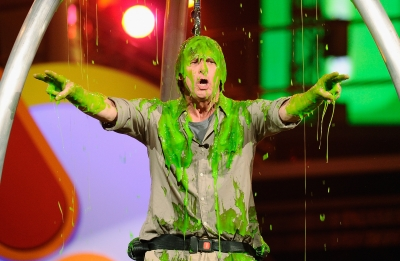 Jim Carrey gets slimed onstage during Nickelodeon's 24th Annual Kids' Choice Awards at Galen Center on April 2, 2011 in Los Angeles