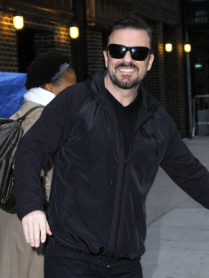 "Ricky Gervais leaves the ""Late Show With David Letterman"" at the Ed Sullivan Theater in New York City on April 12, 2011"