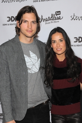 "Ashton Kutcher and Demi Moore attend the launch party for ""Real Men Don't Buy Girls"" at Steven Alan Annex in New York City, on April 14, 2011"