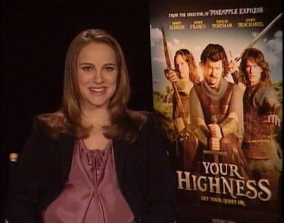 "Natalie Portman smiles at the ""Your Highness"" junket in New York City, NY, on April 6, 2011"