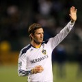 David Beckham waves to the fans after the Galaxy defeated the Portland Timbers 3-0 in their MLS match at The Home Depot Center in Carson, Calif. on April 23, 2011