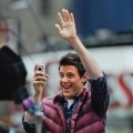 "Cory Monteith greets the fans at the ""Glee"" set in Times Square in New York City on April 25, 2011"