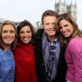 Meredith Vieira, Kit Hoover, Billy Bush and Natalie Morales pose together after their segment on Tuesday's Access Hollywood Live, London, April 26, 2011