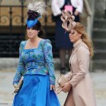 Princess Eugenie of York and Princess Beatrice of York arrive to attend the Royal Wedding of Prince William to Catherine Middleton at Westminster Abbey in London on April 29, 2011
