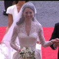 Catherine Middleton arrives at Westminster Abbey for her wedding to Prince William in London on April 29, 2011