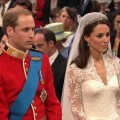 Prince William and Kate Middleton during their wedding ceremony on April 29, 2011