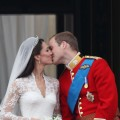 Their Royal Highnesses Prince William, Duke of Cambridge and Catherine, Duchess of Cambridge kiss on the balcony at Buckingham Palace in London on April 29, 2011
