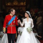 Prince William, Duke of Cambridge and Catherine, Duchess of Cambridge smile following their marriage at Westminster Abbey in London on April 29, 2011