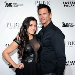 Shawna Craig and Lorenzo Lamas arrive at the Pure Nightclub at Caesars Palace for Lamas' bachelor party in Las Vegas on March 27, 2011