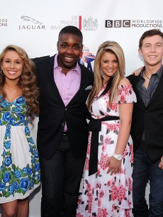 """American Idol"" singers James Durbin, Haley Reinhart, Jacob Lusk, Lauren Alaina, Scotty McCreery, and Casey Abrams arrive at BritWeek's VIP launch reception at the British Consul General's residence in Los Angeles, Calif., on April 26, 2011"