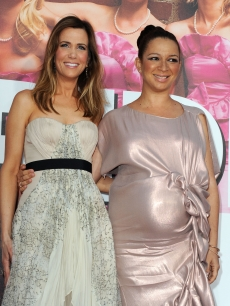 "Kristen Wiig and a pregnant Maya Rudolph hit the red carpet at the premiere Of Universal Pictures' ""Bridesmaids"" at Mann Village Theatre in Westwood, Calif., on April 28, 2011"