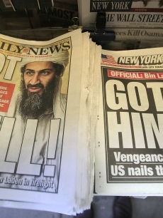Headlines depict the death of Osama bin Laden in New York City on May 2, 2011