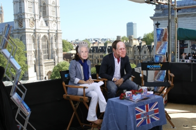 The Queen and Prince Philip, no wait, that's Kit Hoover and Billy Bush, kick off Day 3 of Access Hollywood Live from London, April 27, 2011