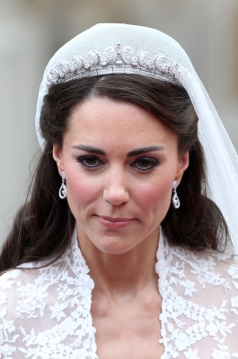Catherine, Duchess of Cambridge smiles following her marriage to Prince William, Duke of Cambridge at Westminster Abbey in London on April 29, 2011