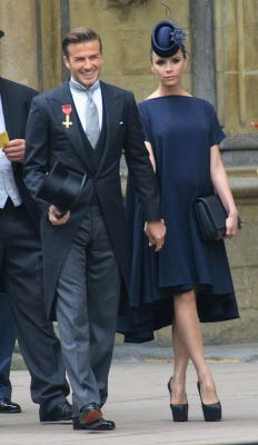 David Beckham and Victoria Beckham arrive to attend the Royal Wedding of Prince William to Catherine Middleton at Westminster Abbey in London on April 29, 2011