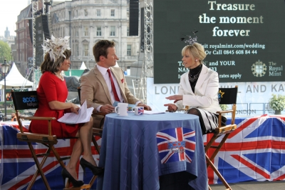 Kit Hoover and Billy Bush talk Royal Wedding fashion with Avril Graham of Harper's Bazaar on Access Hollywood Live, April 29, 2011