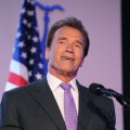 Arnold Schwarzenegger accepts an award at Skirball Cultural Center in Los Angeles on May 10, 2011 